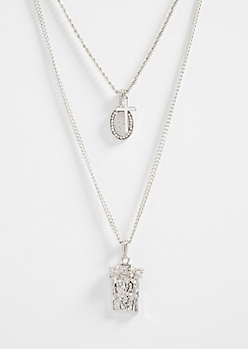Silver Layered Saint Pendant Necklace