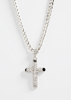 Silver Gemstone Cross Chain Necklace