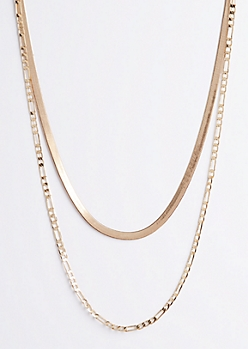 2-Pack Figaro & Snake Coil Chain Necklace Set