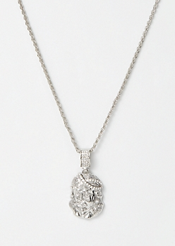 Silver Gemstone Saint Necklace