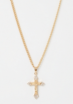 Gold Saint Gem Cross Necklace