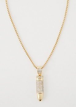 Gold Gem Bullet Necklace