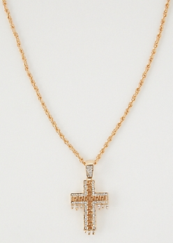 Gold Gem Drip Cross Necklace