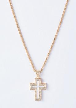 Gold Gem Glitter Cross Necklace