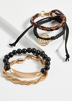 4-Pack Gold Coin & Braided Rope Bracelet Set