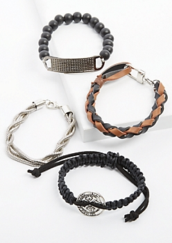 4-Pack Black Braided Faux Leather Bracelet Set