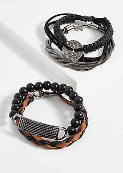 4-Pack Hematite Braided Faux Leather Bracelet Set