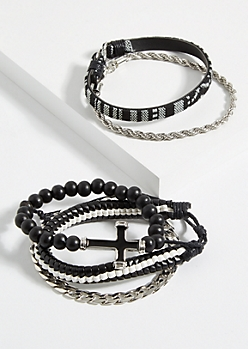 5-Pack Silver Beaded Cross Chain Bracelet Set