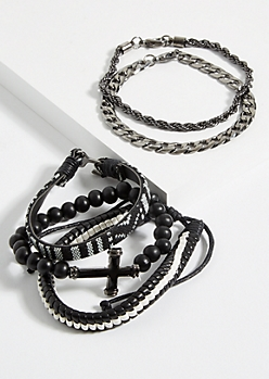 5-Pack Hematite Beaded Cross Chain Bracelet Set