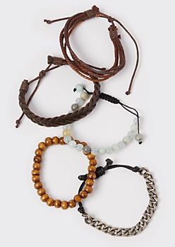 5-Pack Brown Faux Leather Bracelet Set
