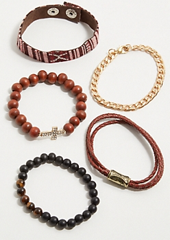 5-Pack Striped Wrap Stretch Bracelet Set