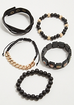 5-Pack Saint Bead Stretch Bracelet Set