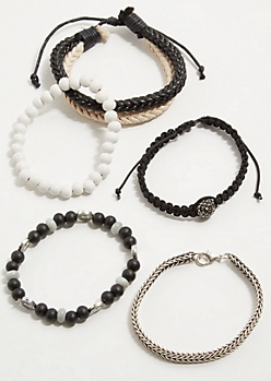 5-Pack Braided Cord Stretch Bracelet Set