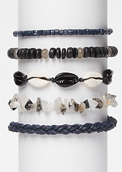 5-Pack Gray Wrap Stone Bracelet Set