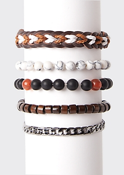 5-Pack Marble Bead Bracelet Set