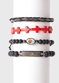 4-Pack Cross Bead Bracelet Set