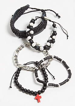 5-Pack Black Beaded Cross Stretch Bracelet Set
