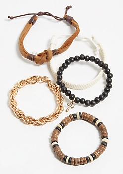 5-Pack Brown Faux Leather Stretch Bracelet Set