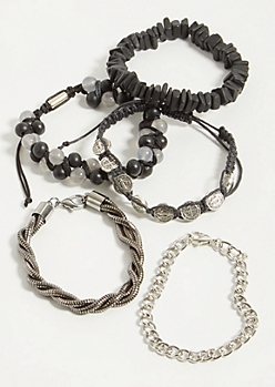 5-Pack Black Stone Cross Mixed Bracelet Set