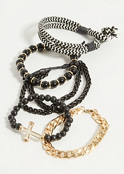 5-Pack Black Bead Cross Bracelet Set