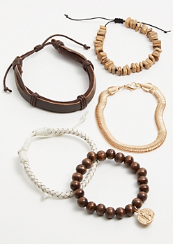 5-Pack Brown Beaded Bracelet Set