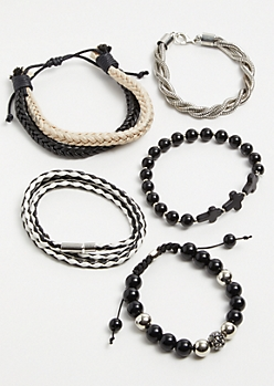 5-Pack Silver Chain Braided Bracelet Set