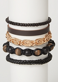 5-Pack Faux Leather Beaded Bracelet Set
