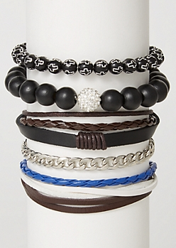 5-Pack Cross Beaded Bracelet Set