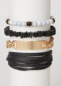 5-Pack Marble Beaded Bracelet Set