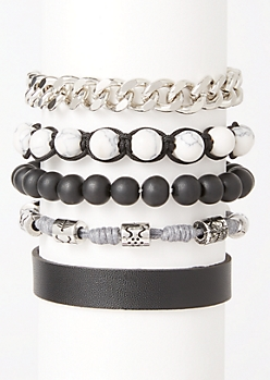 5-Pack Marble Bead Chain Bracelet Set