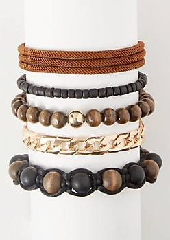 5-Pack Brown Wooden Bead Bracelet Set