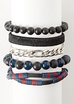 5-Pack Black Wrapped Hemp Bracelet Set