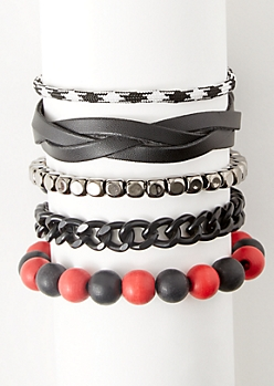 5-Pack Black Braided Faux Leather Bracelet Set