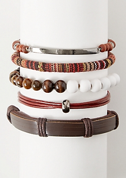 5-Pack Brown Wrapped Cloth Bracelet Set