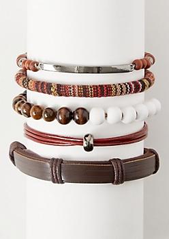 5-Pack Brown Wrapped Cloth Bracelet Set