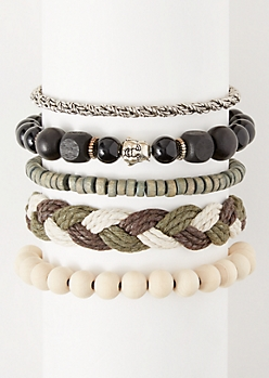 5-Pack Olive Braided Hemp Bracelet Set