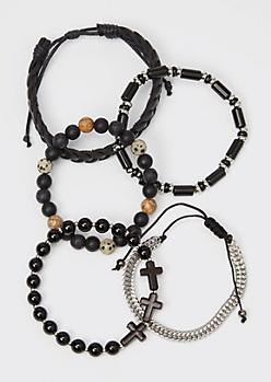 5-Pack Black Cross Braided Bracelet Set