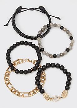 5-Pack Black Braid Gold Bling Chain Bracelet Set