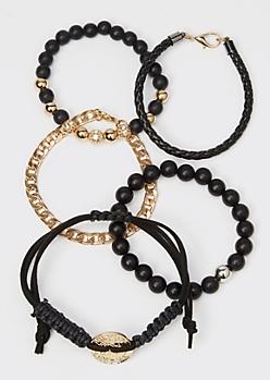 5-Pack Black Beaded Gold Coin Chain Bracelet Set