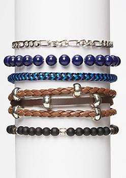 5-Pack Blue Bead Chain Bracelet Set