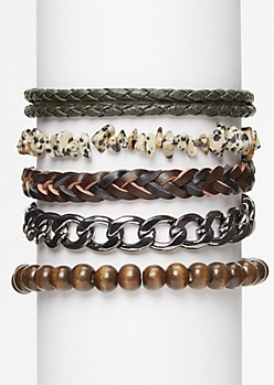 5-Pack Speckled Stone Bracelet Set