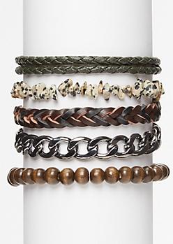 5-Pack Speckled Stone Bracelet Set