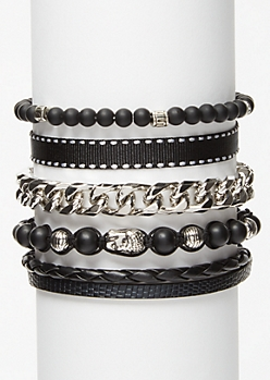 5-Pack Black Beaded Bracelet Set