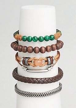 5-Pack Brown Braided Bracelet Set