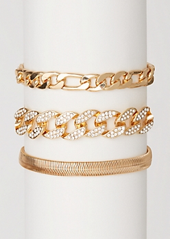 3-Pack Gold Chain Bracelet Set