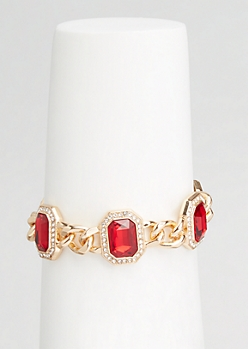 Gold Faux Ruby Chain Bracelet