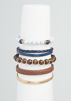5-Pack Braided Faux Leather Bracelet Set
