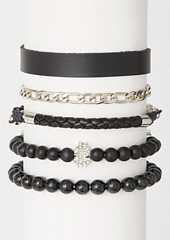 5-Pack Black Bling Money Bracelet Set
