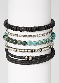 5-Pack Green Marble Bead Bracelet Set