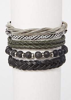 5-Pack Black Bead Silver Twist Bracelet Set